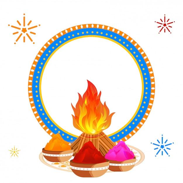 焚き火、ボールで飾られたホーリー祭グリーティングカードデザイン Premiumベクター