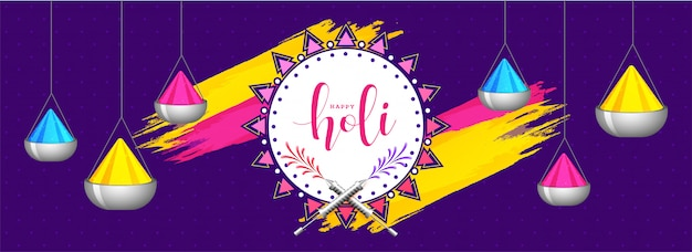 ホーリー祭ヘッドの紫色の背景に色鉢をぶら下げ Premiumベクター