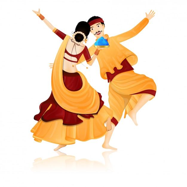 インドのダンスカップル。 Premiumベクター