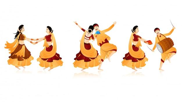 インドのダンスキャラクター。 Premiumベクター