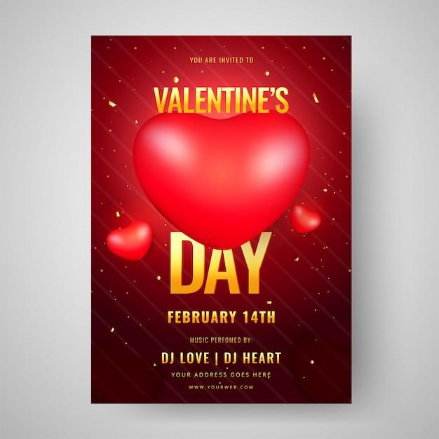 光沢のある心とバレンタインデーのお祝いテンプレートデザイン Premiumベクター