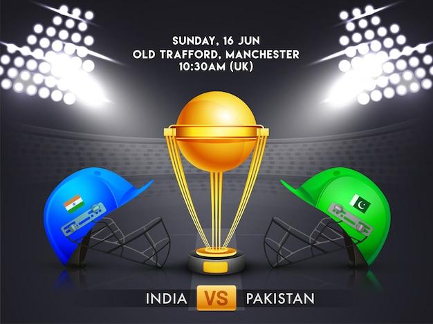 インド対パキスタン、クリケットの試合のコンセプト。 Premiumベクター