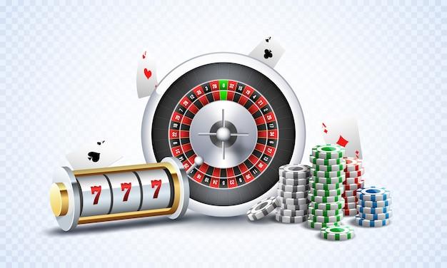 Реалистичный игровой автомат с колесом рулетки Premium векторы