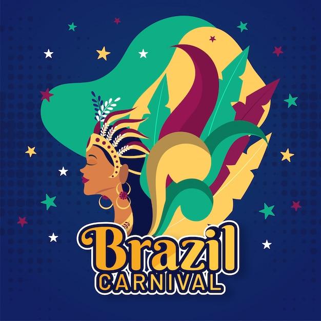 ブラジルのカーニバルの背景。 Premiumベクター
