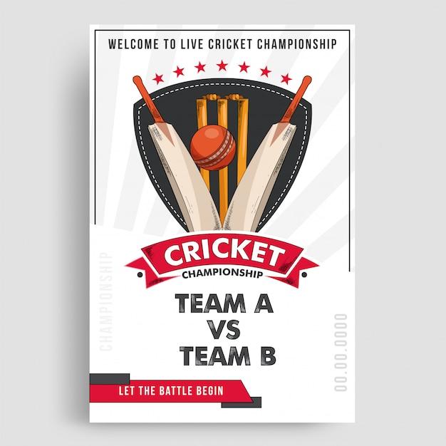 クリケットポスターデザイン。 Premiumベクター