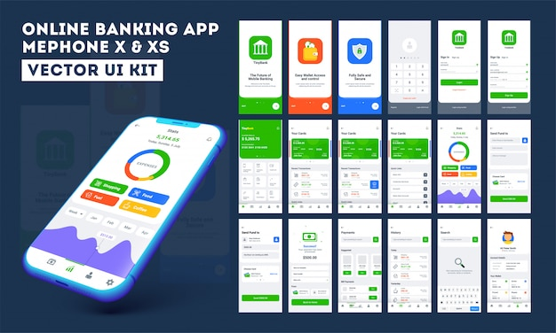 オンラインバンキングのモバイルアプリ。 Premiumベクター