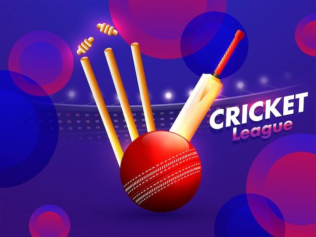 クリケット選手権大会のコンセプトです。 Premiumベクター