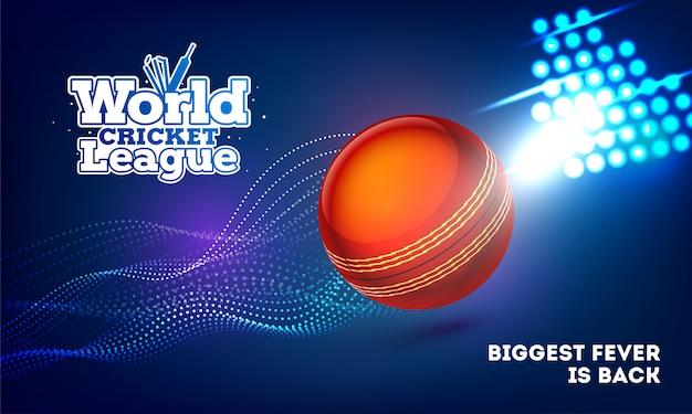 Дизайн баннера всемирной лиги крикета с мячом для крикета на синем фоне Premium векторы