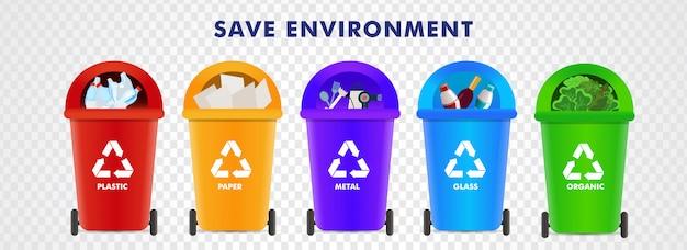 Сохранить окружающую среду. различные типы мусорных корзин, такие как пластик, бумага, металл Premium векторы
