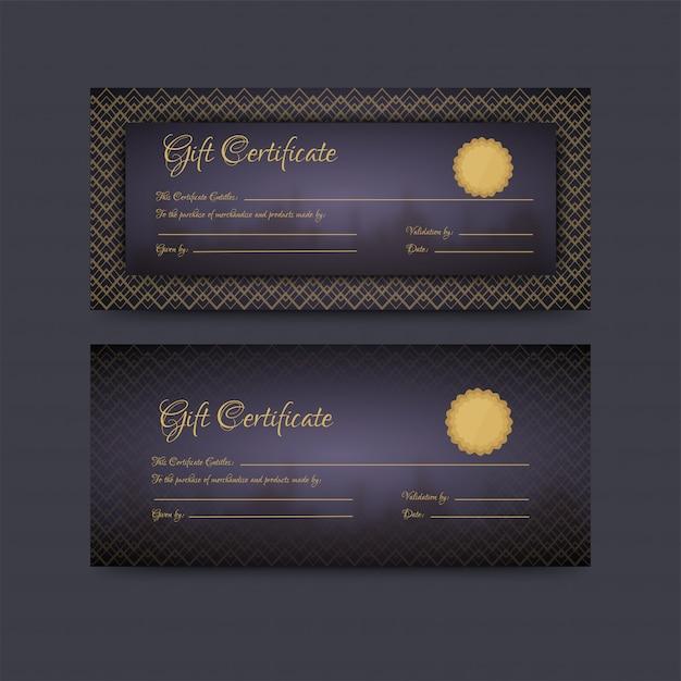 Горизонтальный макет подарочного сертификата или ваучера в двух вариантах. Premium векторы