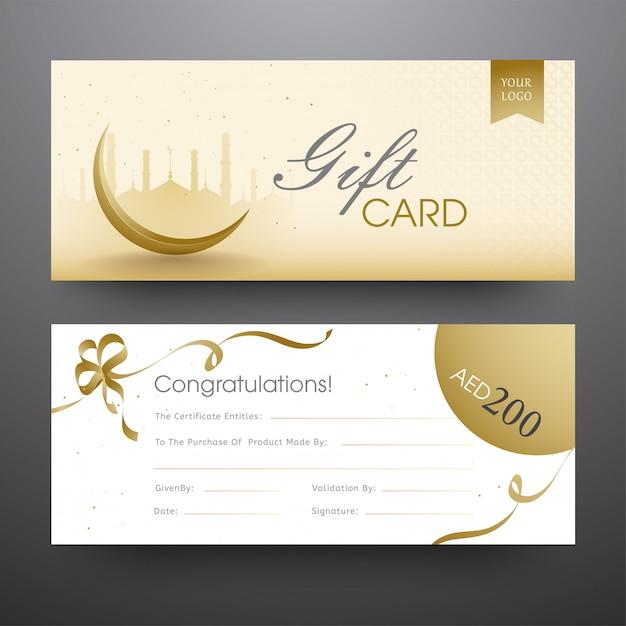 Горизонтальная подарочная карта или баннер с силуэтом мечети, креск Premium векторы