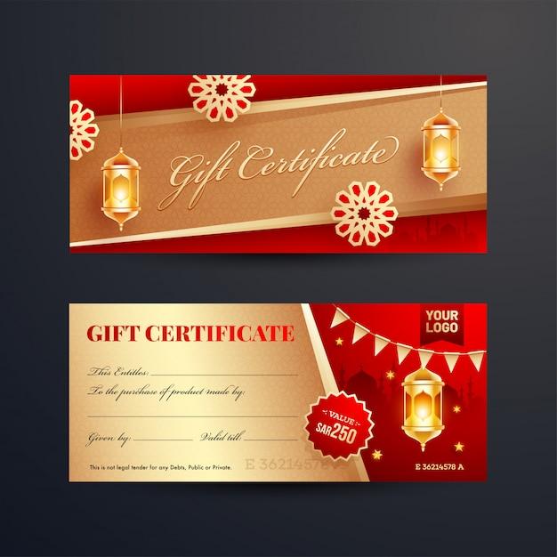 Вид спереди и сзади подарочного сертификата или макета ваучера с Premium векторы