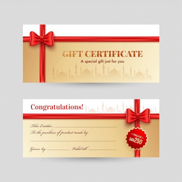 Горизонтальный вид спереди и сзади подарочный сертификат с красным ребром Premium векторы