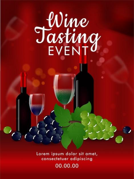 Вид спереди реалистичных винных бутылок с бокалом и виноградом питья на сияющей красной предпосылке для шаблона события дегустации вин или дизайна карточки приглашения. Premium векторы