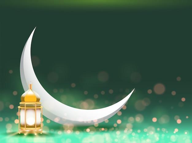 Луна и золотой фонарь на зеленом фоне Premium векторы