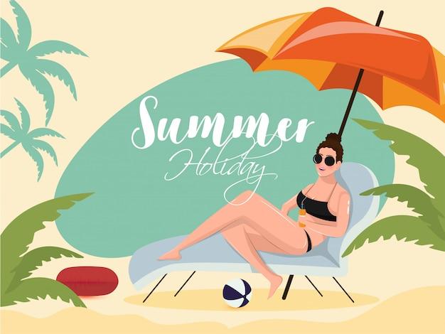 夏の休暇のためのビーチチェアでリラックスした美しい少女 Premiumベクター