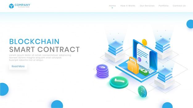 Концепция контракта изометрические блокчейн с блоками. Premium векторы