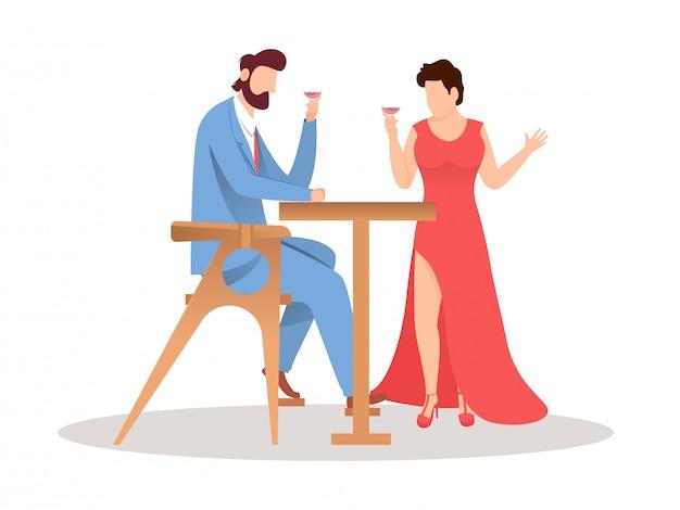 彼のデートとワイングラスを持って顔のないカップル Premiumベクター