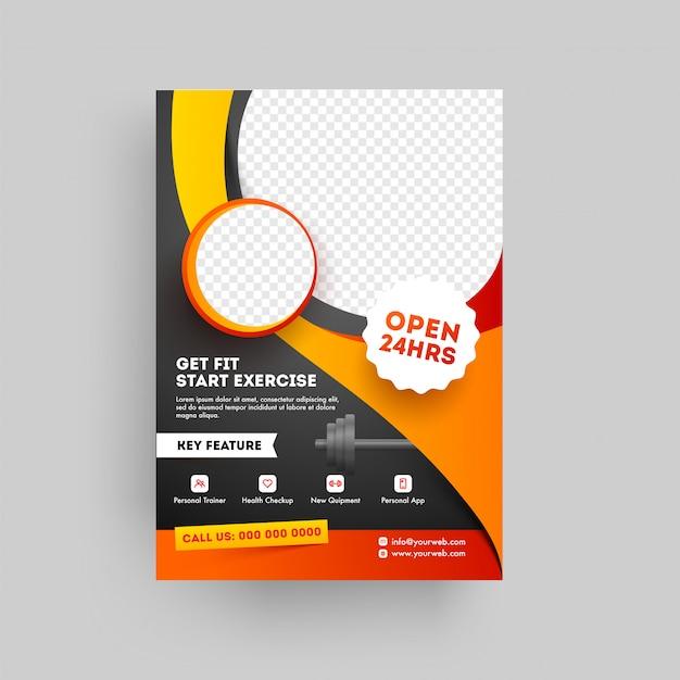 フィットネスとジムのコンセプトに基づくフィットネスクラブのパンフレットまたはテンプレート Premiumベクター