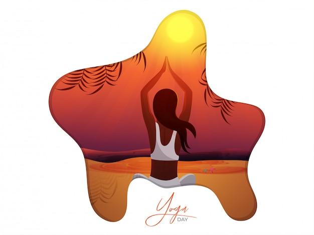 Красивая женщина занимается йогой на международный день йоги Premium векторы