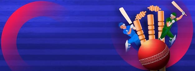クリケットのトーナメントとバットのバナー Premiumベクター