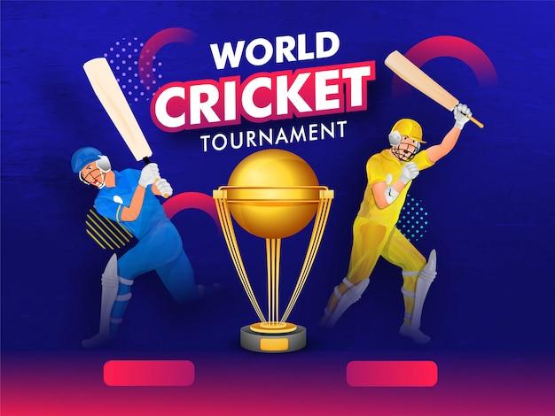 Баннер мирового турнира по крикету с чемпионом Premium векторы