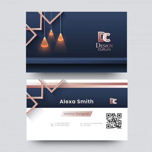 Визитная карточка для декоратора, дизайнера, архитектора с креативным дизайном Premium векторы