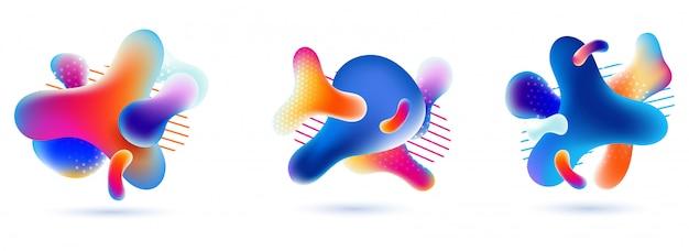 流体芸術の抽象的な形のマルチグラデーションカラーの液体バブルのセット Premiumベクター