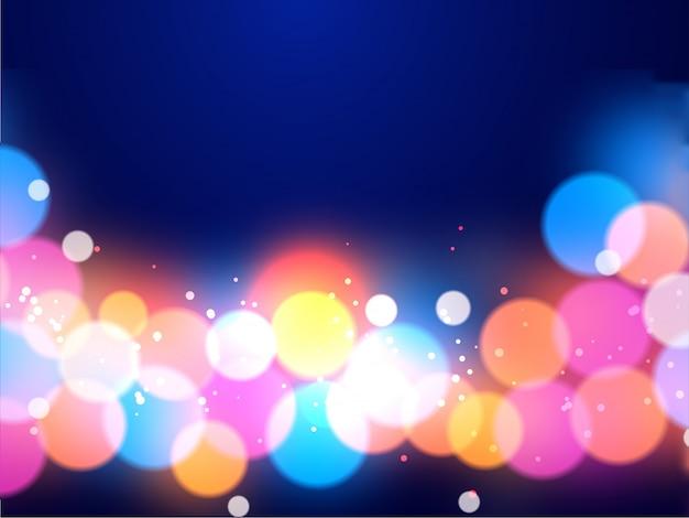 光沢のあるマルチカラー照明効果の抽象的な背景のボケ味。 Premiumベクター