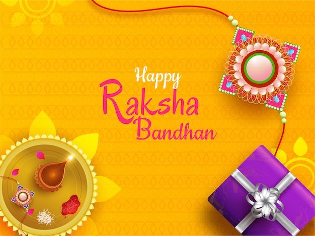 ハッピーラクシャバンダンお祝い背景。 Premiumベクター