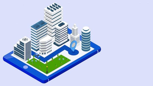 Целевая страница сайта с изометрической проекцией недвижимости. Premium векторы