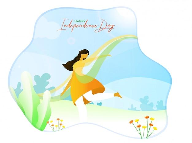 Счастливого дня независимости. иллюстрация женщина танцует на фоне солнечного взгляда природы. Premium векторы