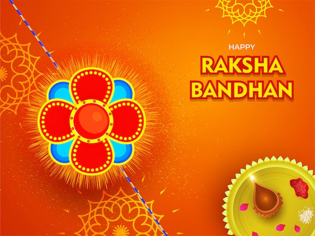 ハッピーラクシャバンダン祭のオレンジ色の花の背景に礼拝プレートと美しいラキ(リストバンド)。 Premiumベクター
