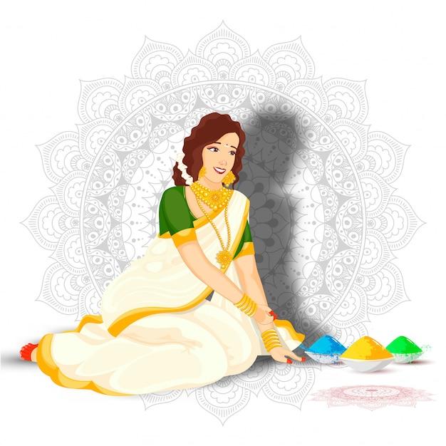Красивая индийская женщина в сидячем позе с цветными шарами на фоне образца мандалы. Premium векторы