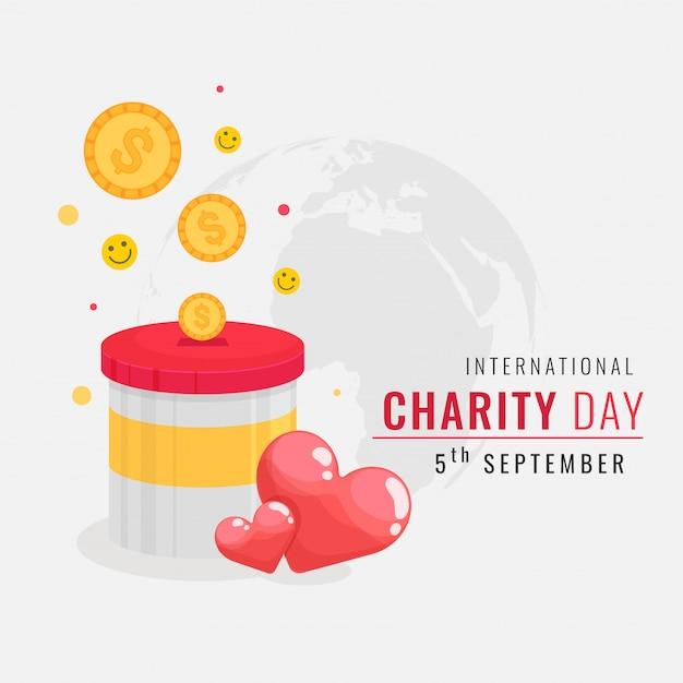 スマイリーボールと心のお金の募金箱のイラスト。国際チャリティデー Premiumベクター