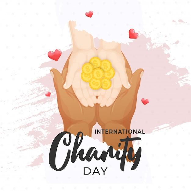 Векторная иллюстрация денег, дающих руки на международный день благотворительности Premium векторы