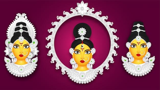 別のスタイルの女神ドゥルガー顔のセット Premiumベクター