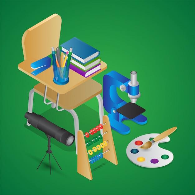 Изометрическая иллюстрация элементов образования, таких как школьный стул с книгами, микроскопом, телескопом, счетами и кистью для рисования Premium векторы