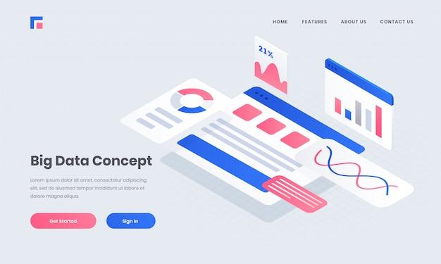 Адаптивный плакат или целевая страница с инфографикой несколько экранов веб-сайта для концепции больших данных изометрического дизайна. Premium векторы