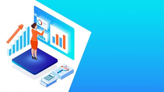 Рабочий стол аналитика или разработчика, бизнес-леди анализирует данные с бизнес-оборудованием для финансового роста или концепции анализа данных на основе изометрического дизайна. Premium векторы