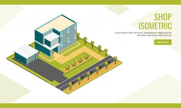 ショップコンセプトベースの等尺性ランディングページデザインの街並みの建物と庭の庭の背景。 Premiumベクター
