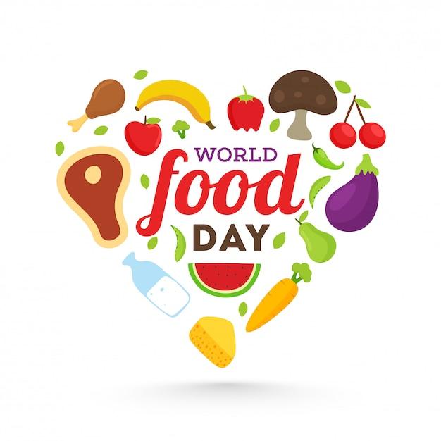 Всемирный день продовольствия композиция с формы сердца. Premium векторы