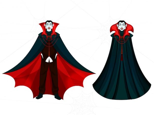 白の吸血鬼の男性の漫画のキャラクター。 Premiumベクター