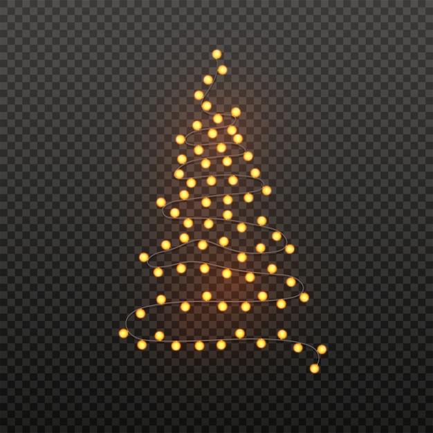 黒透明のガーランドを照明することによって作られたクリスマスツリーのイラスト。クリスマスのポスター。 Premiumベクター