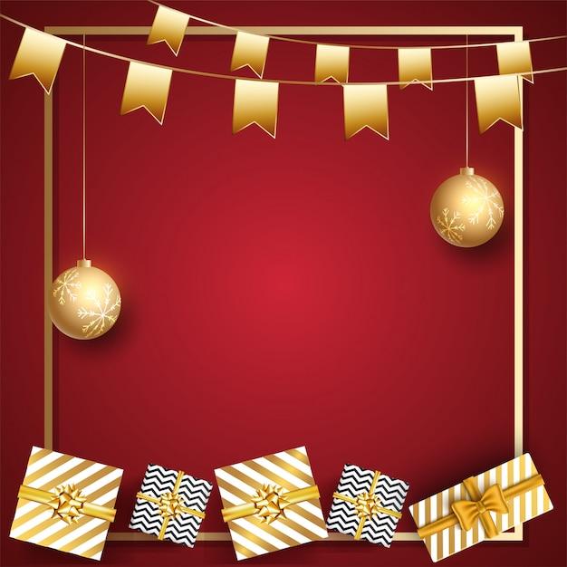 赤に飾られた黄金のつまらないものとパーティーフラグをぶら下げとギフトボックスのトップビュー Premiumベクター