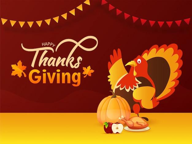 グリーティングカードまたは幸せな感謝祭の祭典のための七面鳥、カボチャ、リンゴ、鶏のイラストポスター。 Premiumベクター
