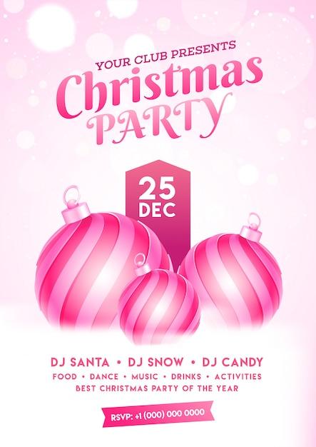 つまらないと雪のボケ効果のイベントの詳細とクリスマスパーティーの招待状。 Premiumベクター