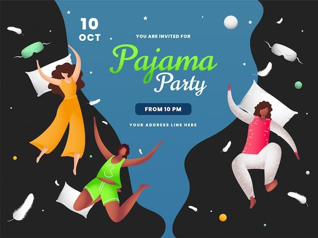 Молодые девушки наслаждаются летающей подушкой по случаю пижамной вечеринки. может использоваться как баннер Premium векторы