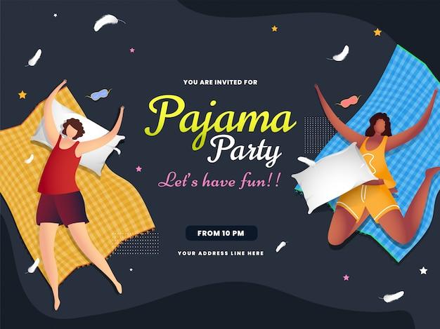 Женский персонаж, лежа с простыней на сером абстракция для празднования пижамной вечеринки баннер Premium векторы