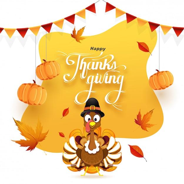 掛かるカボチャ、紅葉、トルコの鳥で飾られた幸せな感謝祭グリーティングカード Premiumベクター